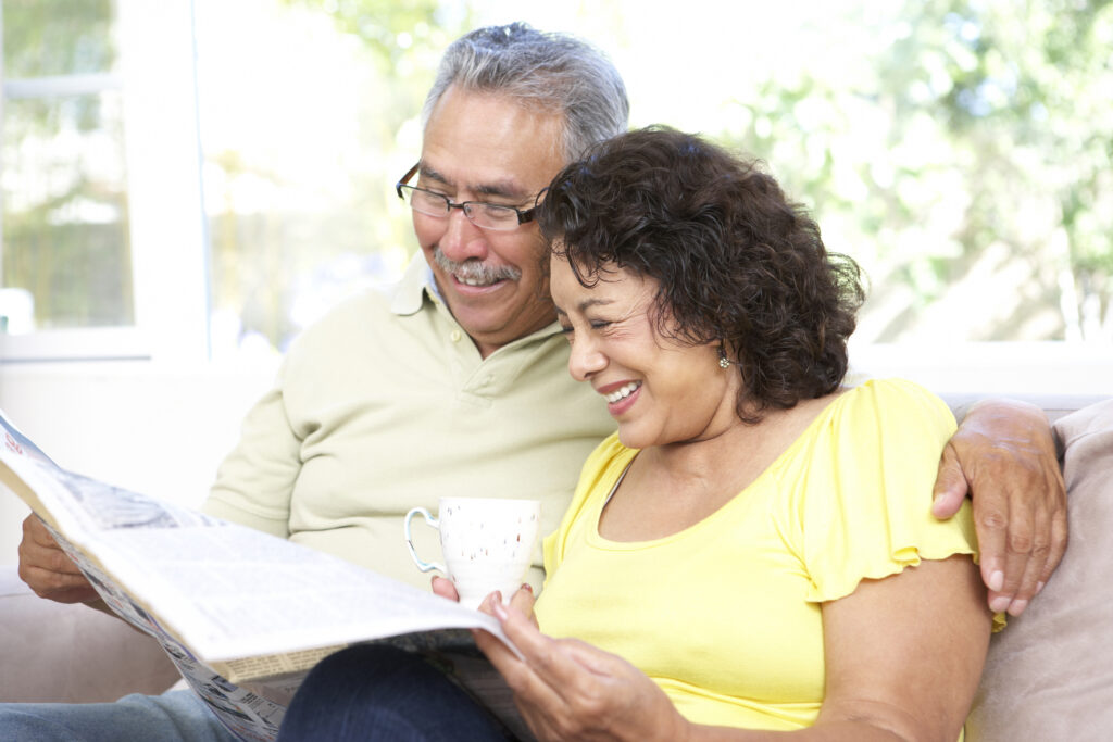 older couple share a happy moment together
