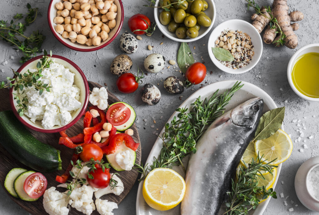 a healthy plate of Mediterranean food for heart and joint health